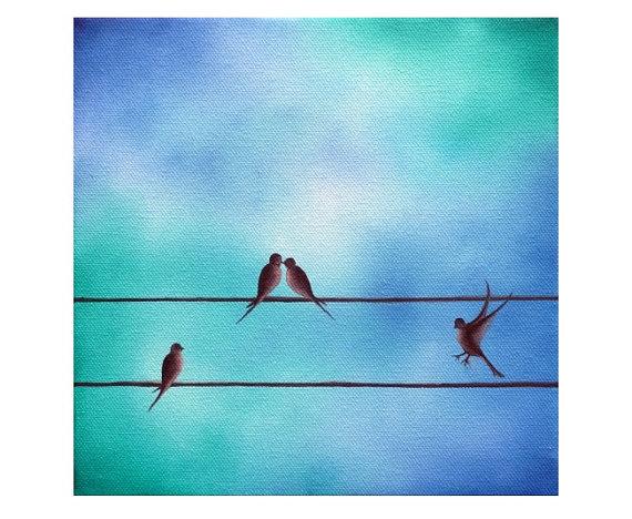 570x468 Love Birds Giclee Print Art Print Of Silhouette Bird