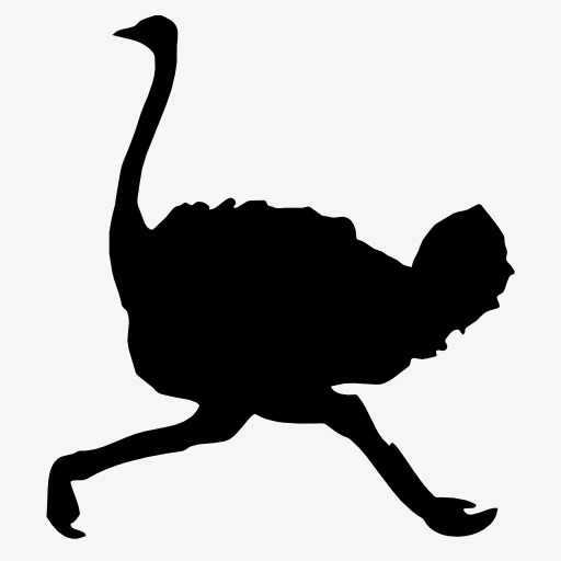 512x512 Ostrich Silhouette, Bird, Flight, Animal Png Image And Clipart