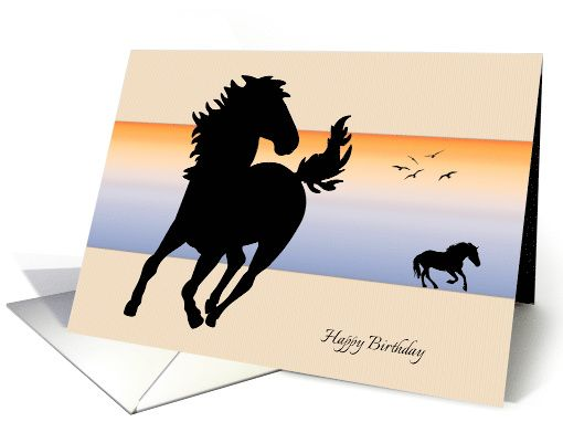 510x382 Two Silhouette Horses Running On A Color Background Birthday Card