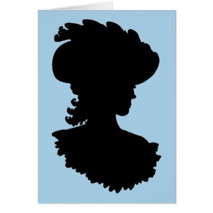 422x422 Vintage Beauty Silhouette Greetings Card Vintage Beauty