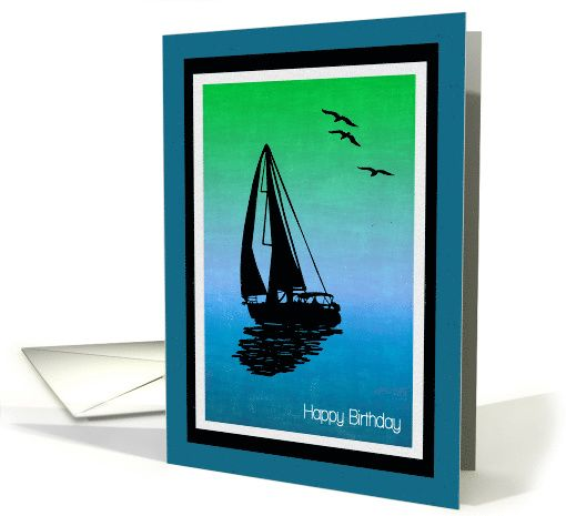 510x465 Beautiful Birthday Card With Sailboat Silhouettend Birds Over
