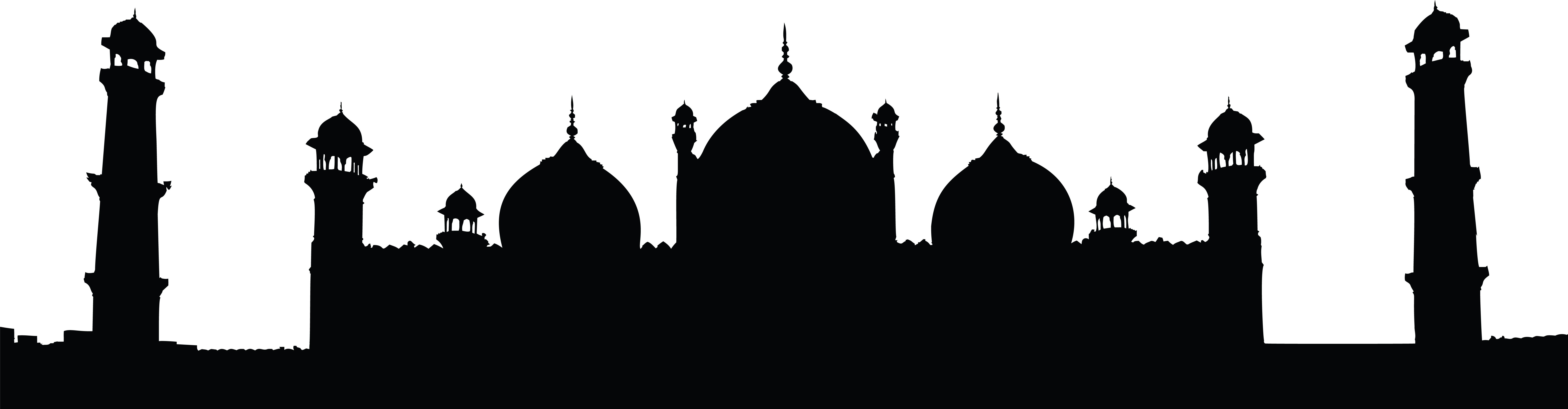 8000x2089 Clipart Of A Badshahi Mosque Lahore Pakistan Black And White