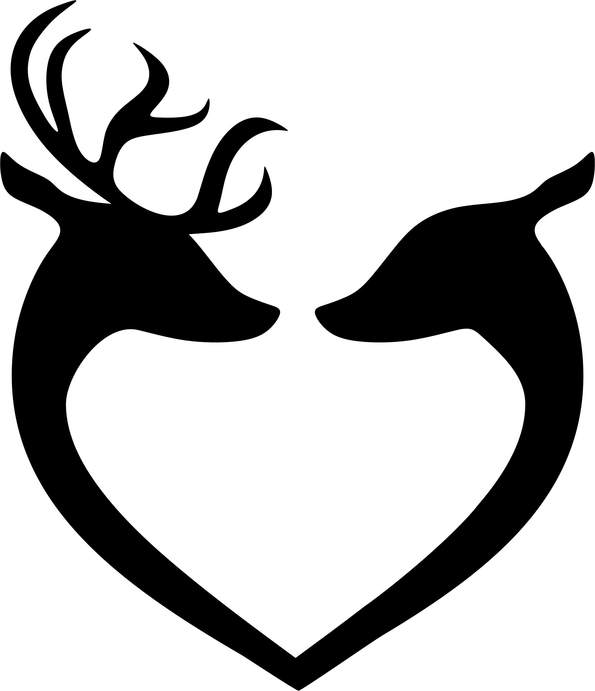 1994x2316 Deer Couple Heart Silhouette Black Icons Png