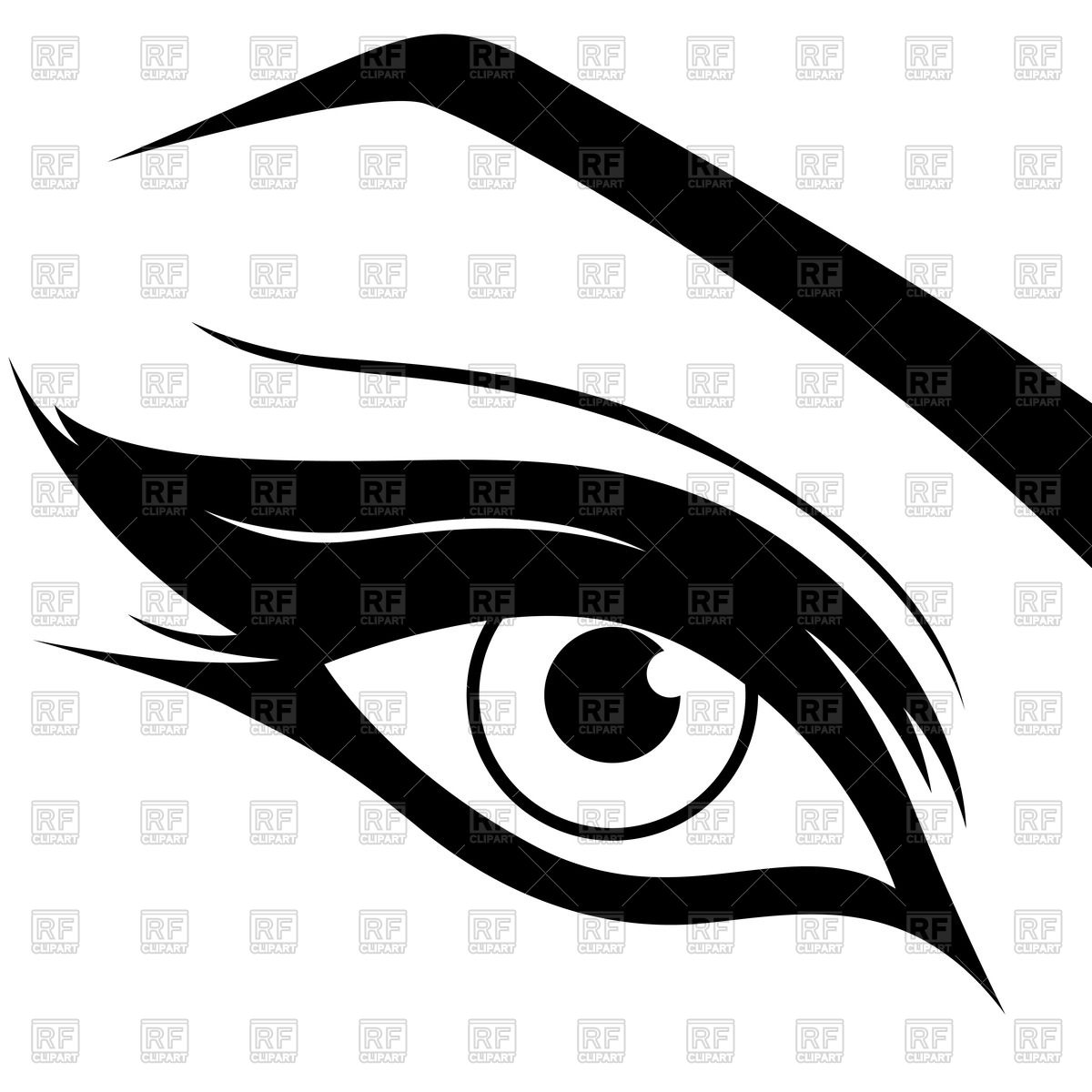 1200x1200 Eye Silhouette With Make Up Royalty Free Vector Clip Art Image