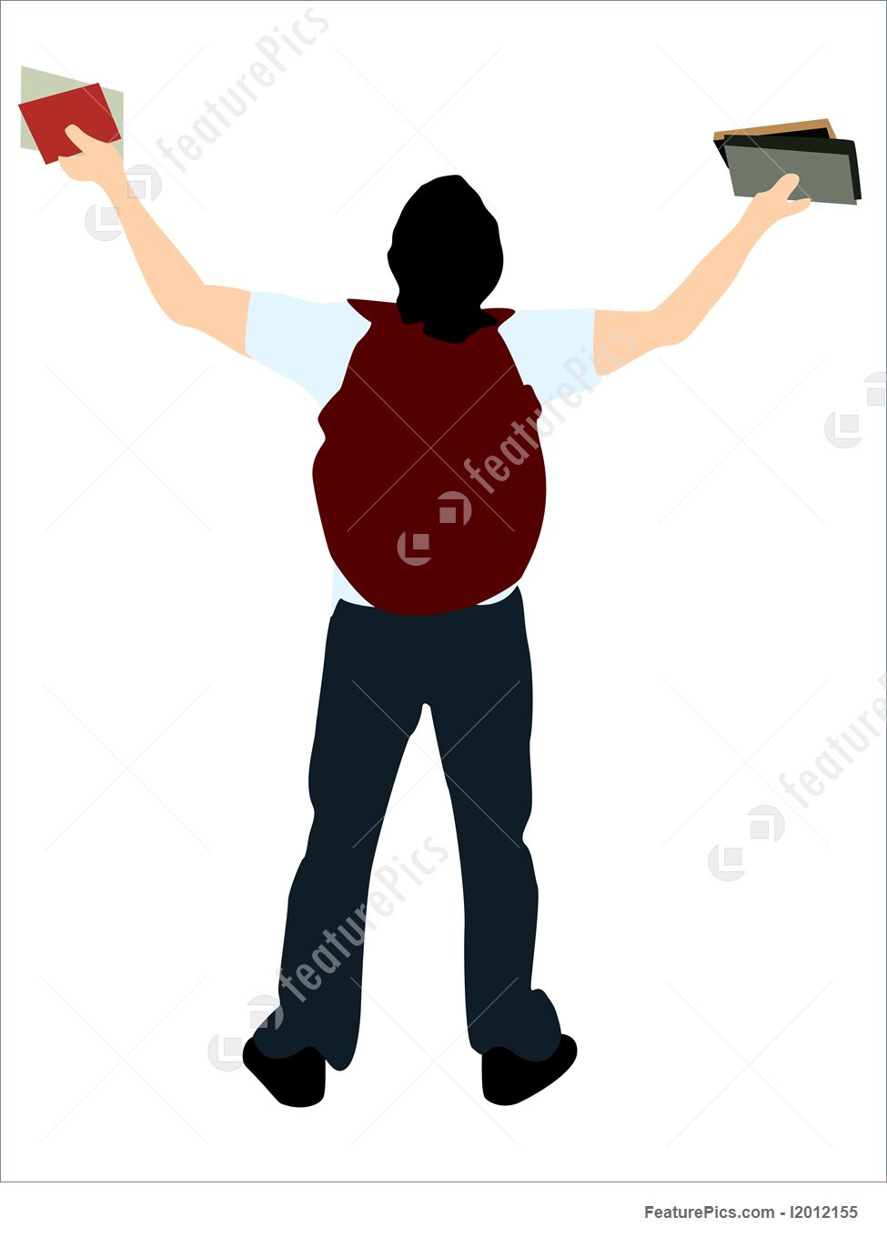 975x1360 Silhouettes And Outlines College Student With Books