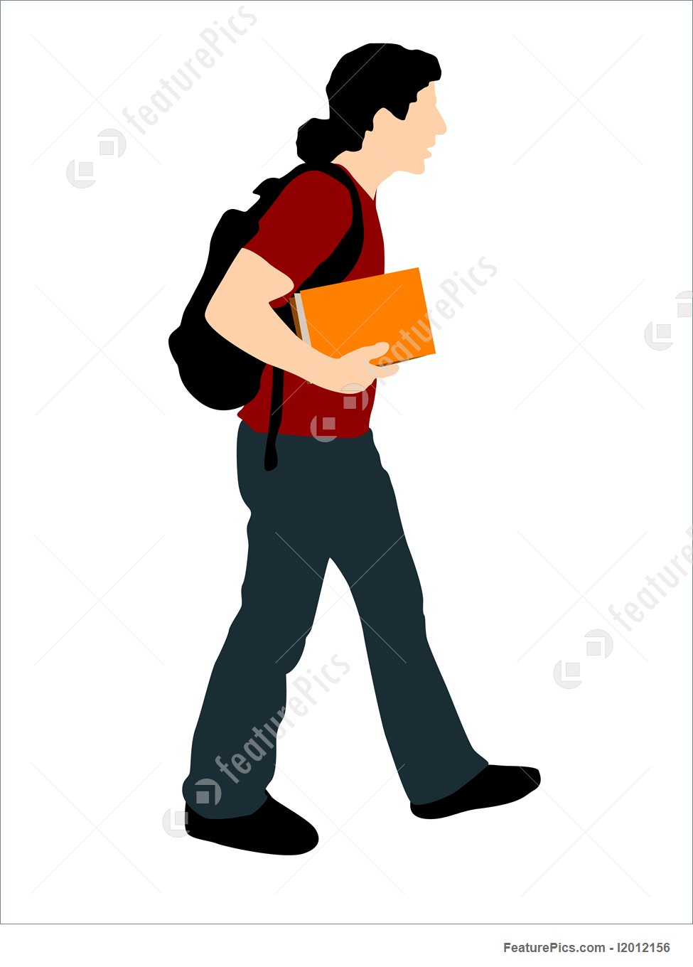 975x1360 Silhouettes And Outlines Young Student Walking With Books