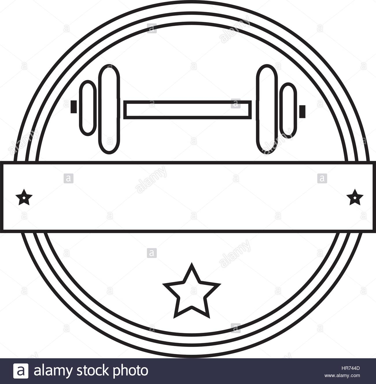 1300x1328 Silhouette Circular Border With Dumbbell For Training In Gym