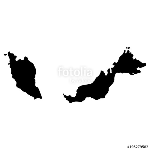 500x500 Black Silhouette Country Borders Map Of Malaysia On White