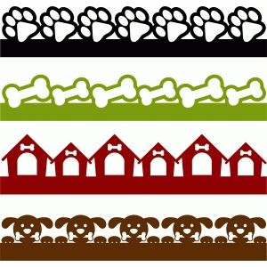 300x300 Dog Borders Set Silhouette Design, Silhouettes And Dog Pattern