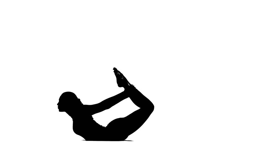 852x480 Girl Shows The Pose Bow. Silhouette Stock Footage Video 20497681