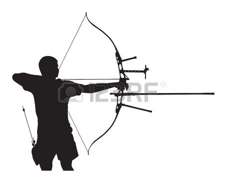 450x368 Silhouette Of Archer Stretching The Bow And Aiming Stock Vector