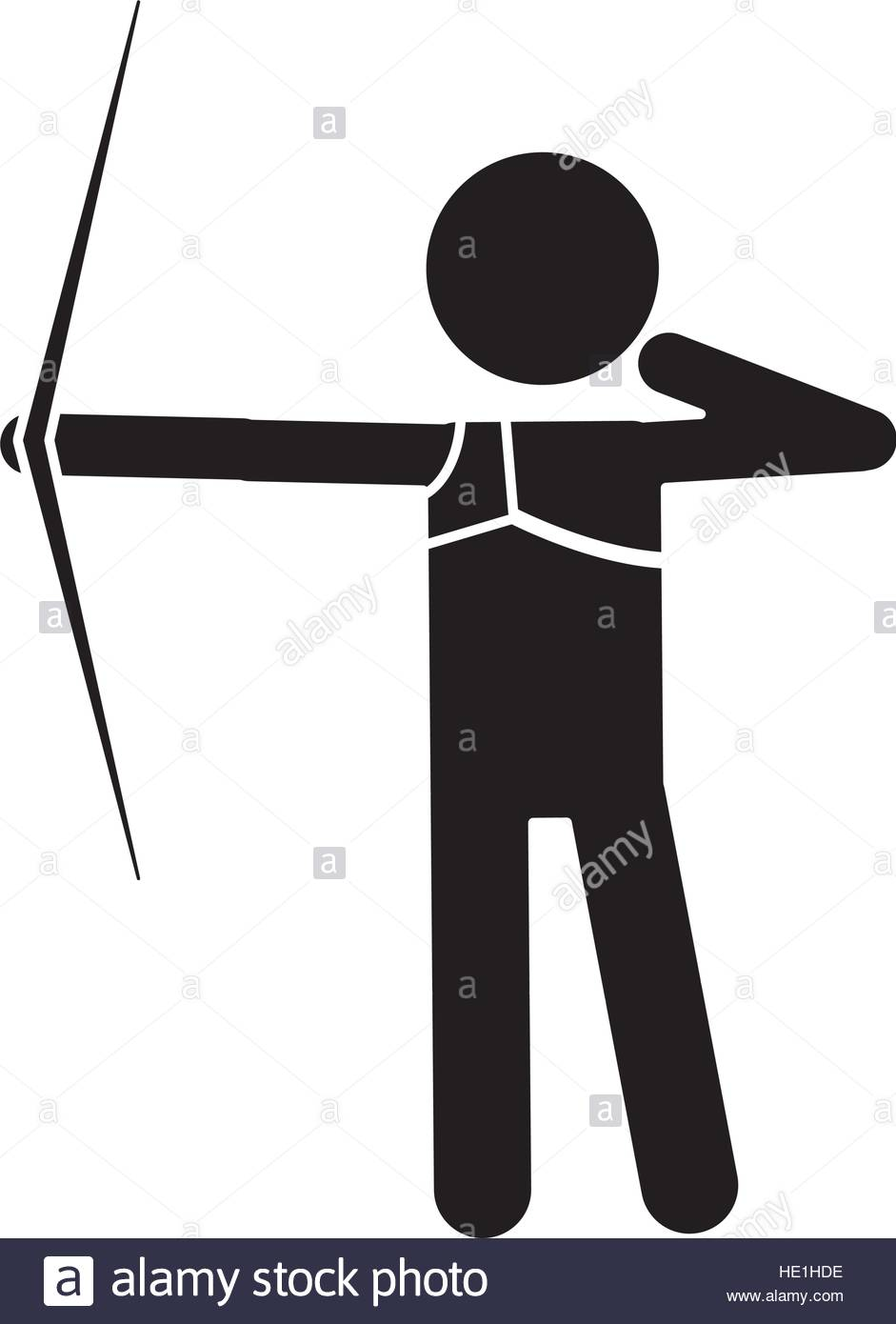941x1390 Silhouette Archery Player Aiming Bow Game Stock Vector Art