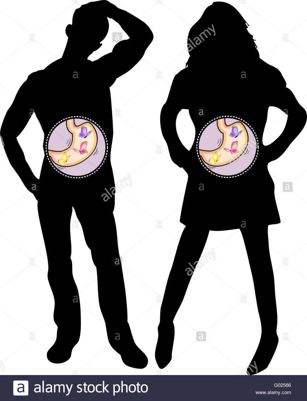 1062x1390 Girl And Boy Silhouette With Butterflies In The Stomach. Editable
