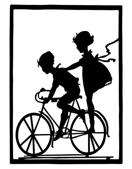 524x674 206 Silhouette Boy And Girl On Bicycle