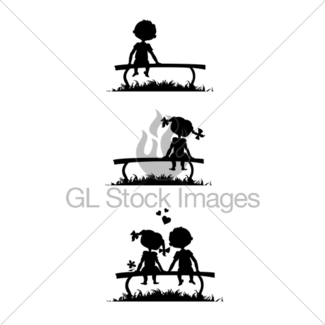 325x325 Silhouettes Of Kissing Boy And Girl Gl Stock Images