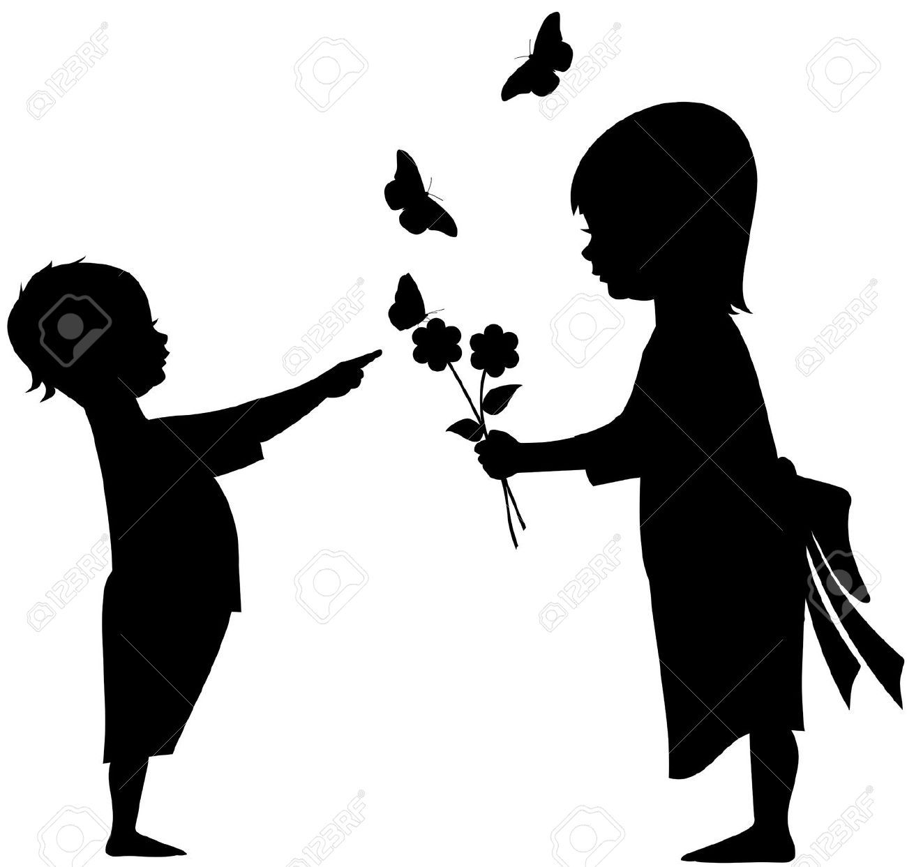 1300x1243 9340931 Illustration Silhouette Of Two Children A Boy And A Girl
