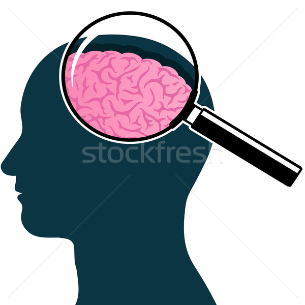 600x600 Male Head Silhouette With Magnifying Glass And Brain Vector