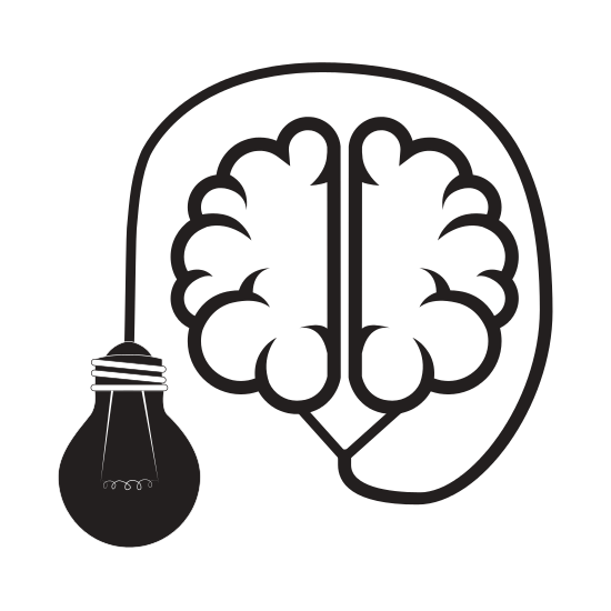 550x550 Silhouette Brain Connected To Light Bulb