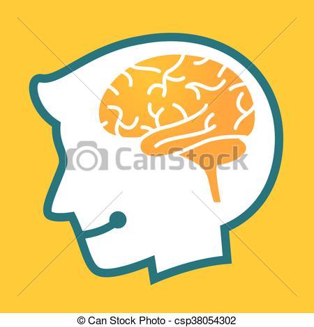 450x470 Silhouette Human Head With Brain Symbol. Vector Stock