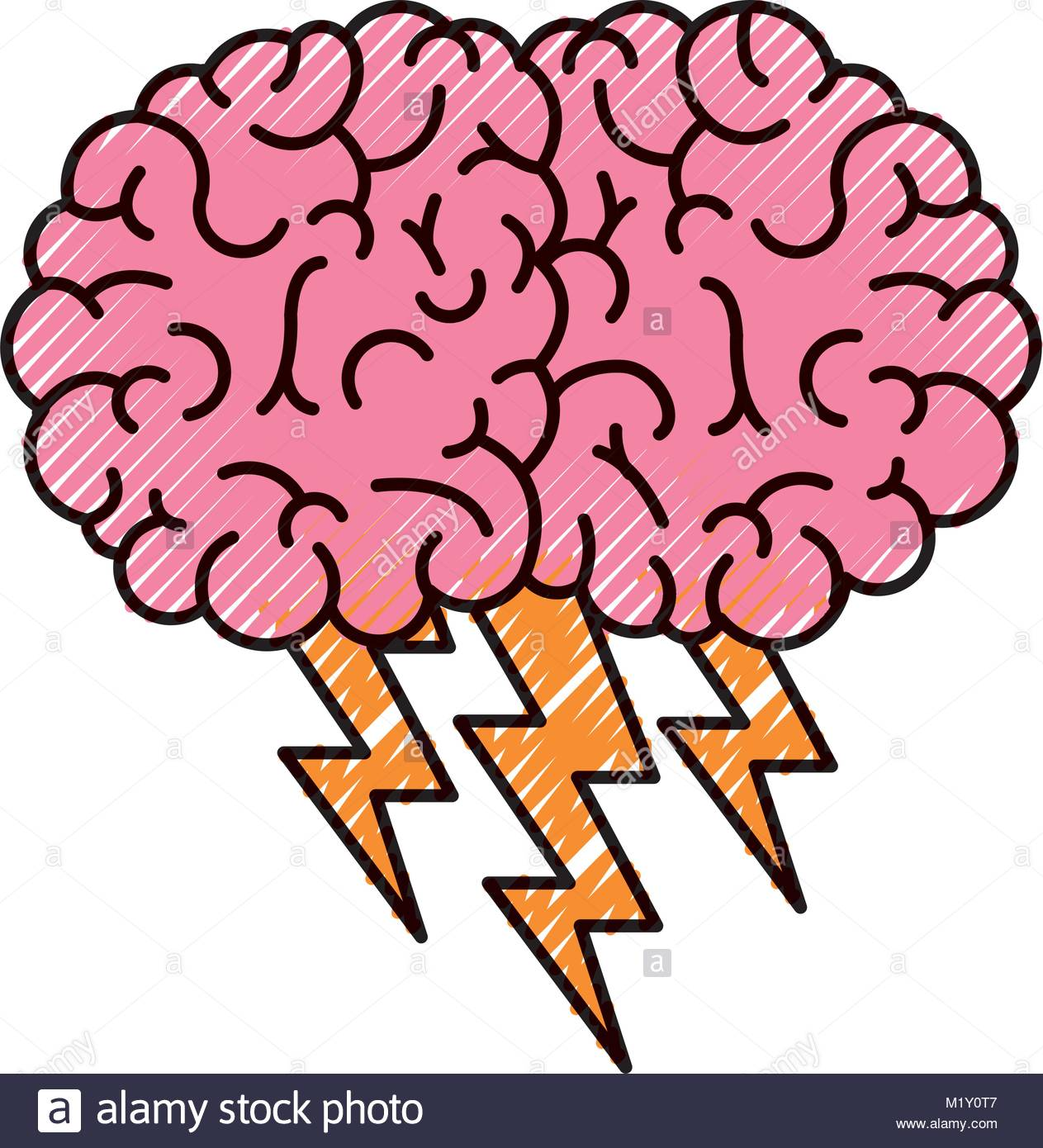 1263x1390 Brain In Side View With Lightning In Colored Crayon Silhouette