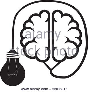 306x320 Silhouette Brain Human Top View With Light Bulb Vector