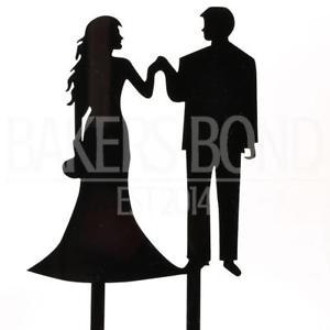 300x300 Bride Amp Groom Fishtail Dress Black Acrylic Wedding Day Cake Topper