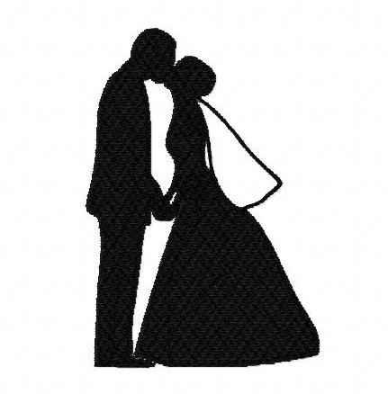 431x438 Bride And Groom Silhouette Veil Wedding 2 Inch Machine Embroidery