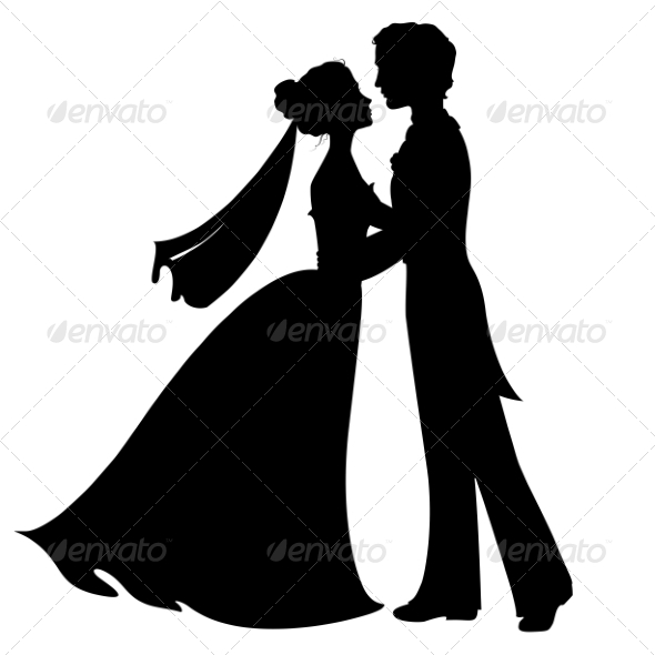 590x590 Silhouette Of Bride And Groom By Olga Lebedeva Graphicriver