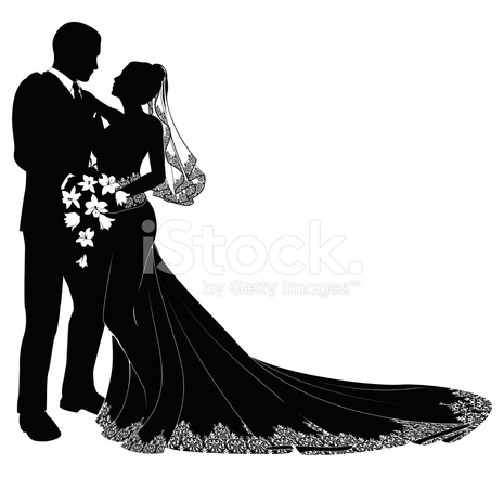 465x440 Bride And Groom Silhouette Stock Vector