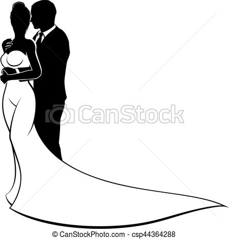 450x469 Bride And Groom Couple Wedding Silhouette. Bride And Groom