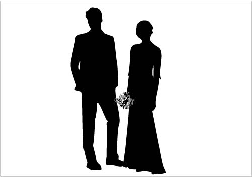 501x352 Bride And Groom Wedding Couple Silhouette Vector Gorgeous Bride