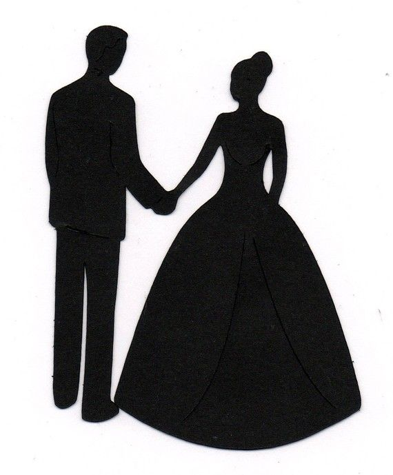 570x689 Holding Hands Bride And Groom Wedding Silhouette Die Cut For Scrap
