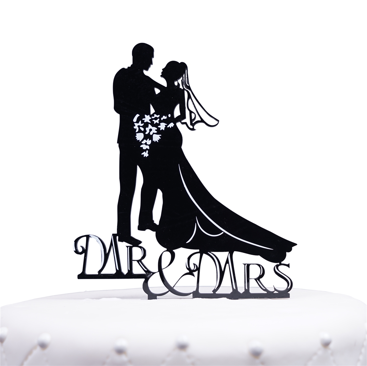 1200x1196 Mr. Amp Mrs. Bride And Groom Silhouette Acrylic Cake Topper
