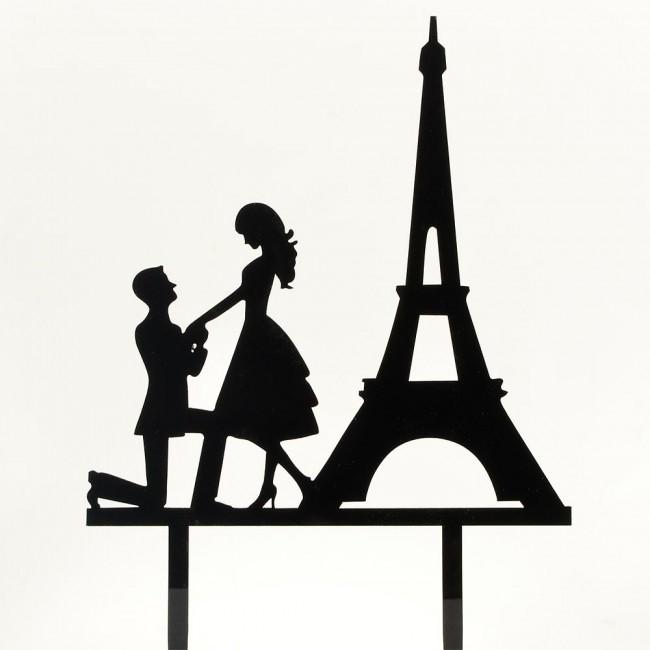 650x650 Paris Engagement Proposal Bride Amp Groom Wedding Day Cake Topper