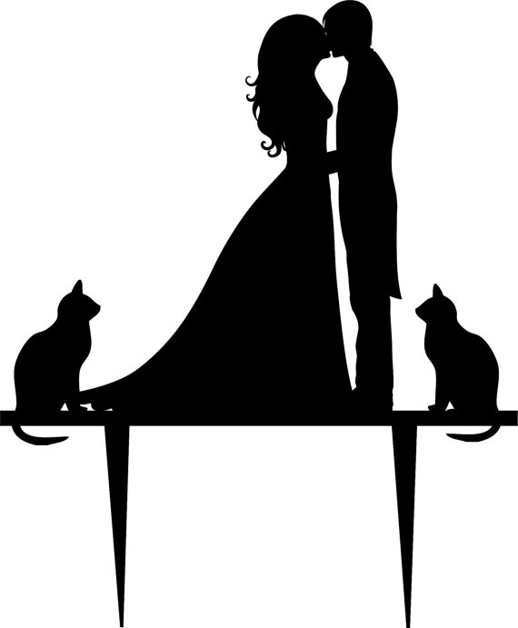 570x691 Wedding Cake Topper Silhouette Groom And Bride, Acrylic Cake