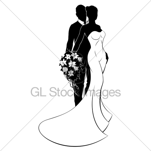 500x500 Bride And Groom Bouquet Wedding Silhouette Gl Stock Images