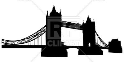 400x200 Bridge Tower Silhouette In London Royalty Free Vector Clip Art