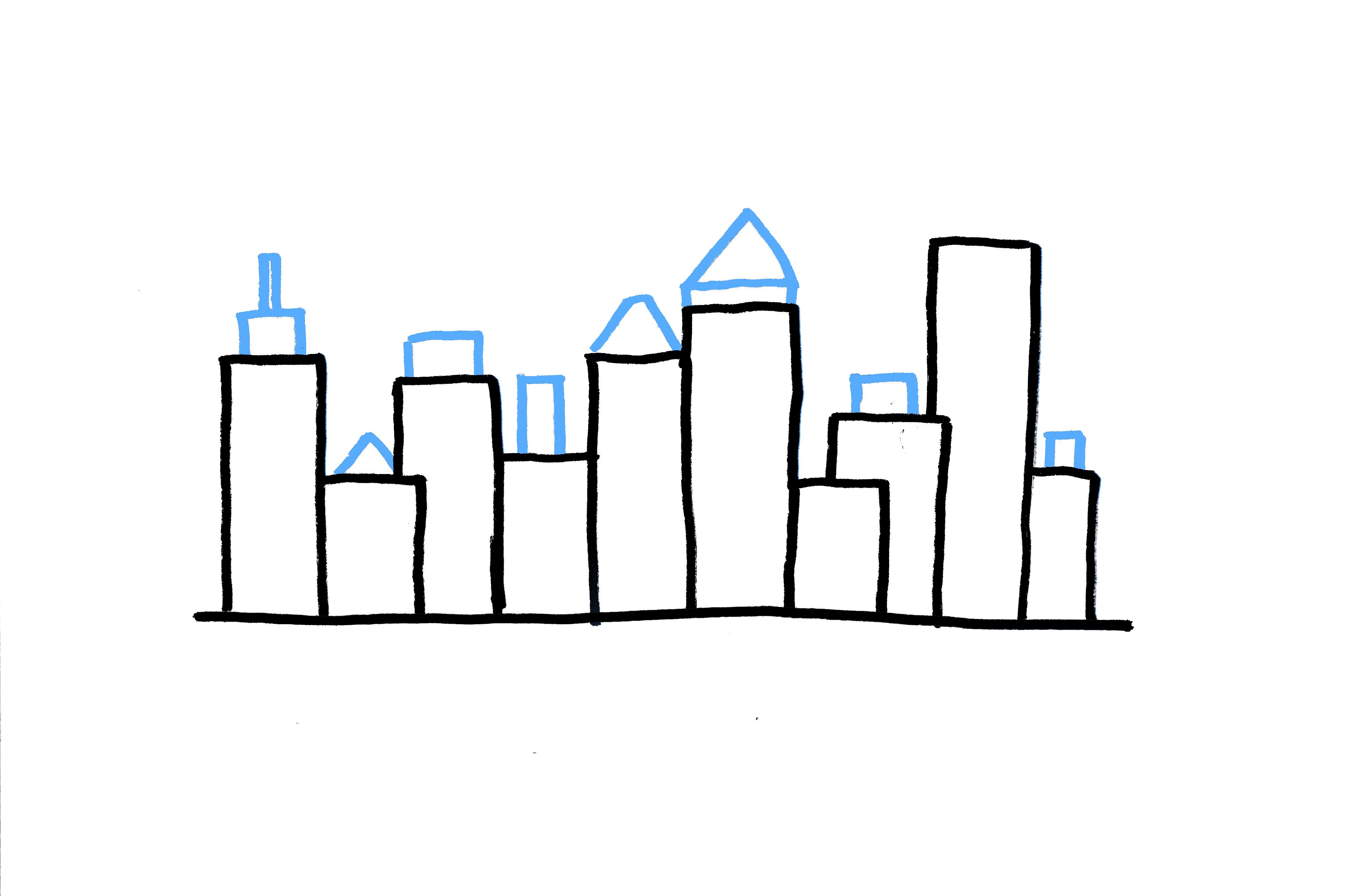 4400x2911 City Skyline Drawing