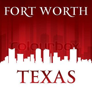 320x320 Fort Worth Texas City Skyline Silhouette. Vector Illustration