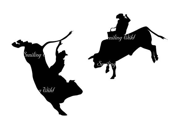 570x403 Rodeo Bull Silhouette Bull Rider Svg Clipart Png Vector