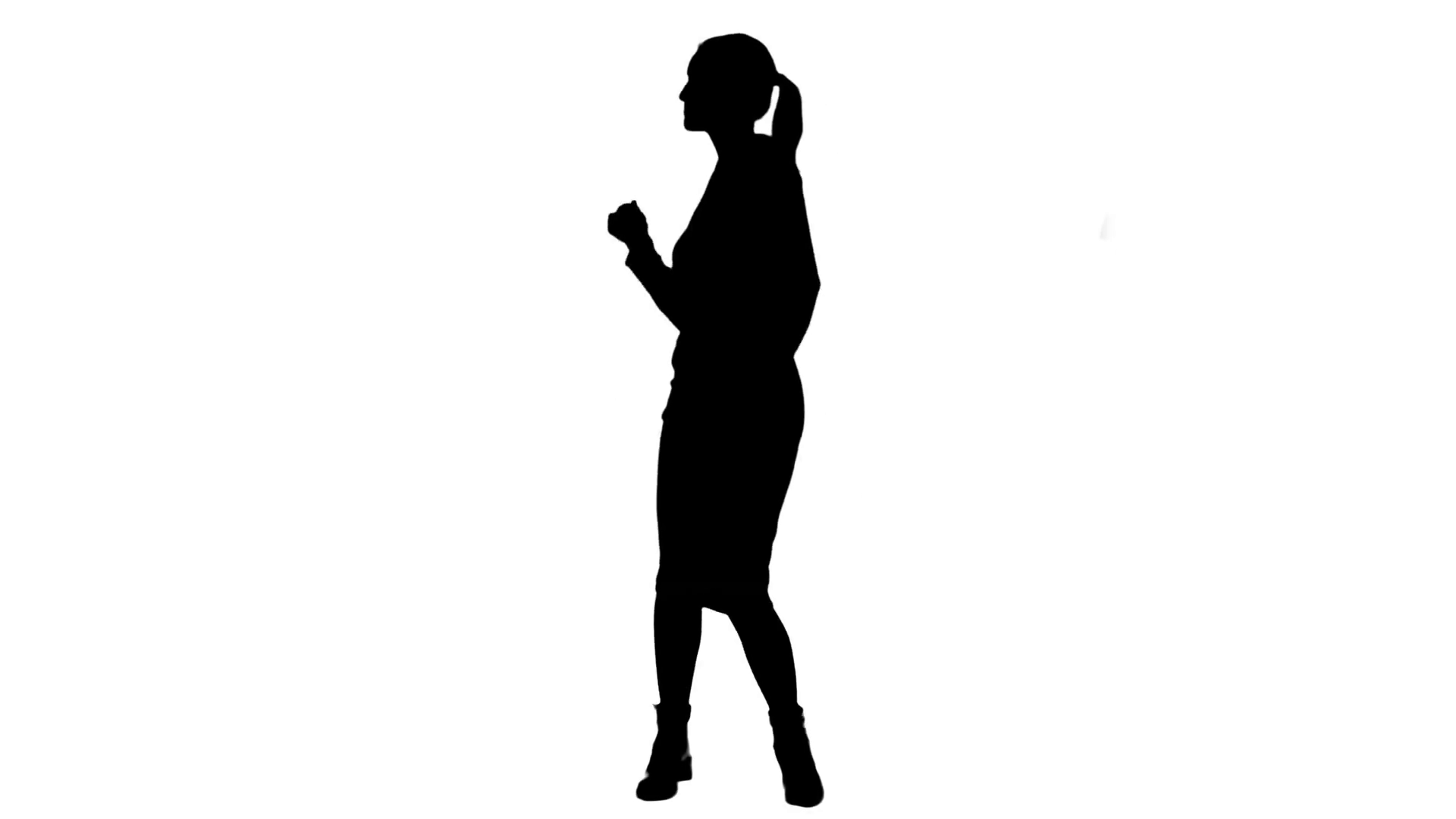 1920x1080 Silhouette Businesswoman Dancing Wildly Celebrating Successful