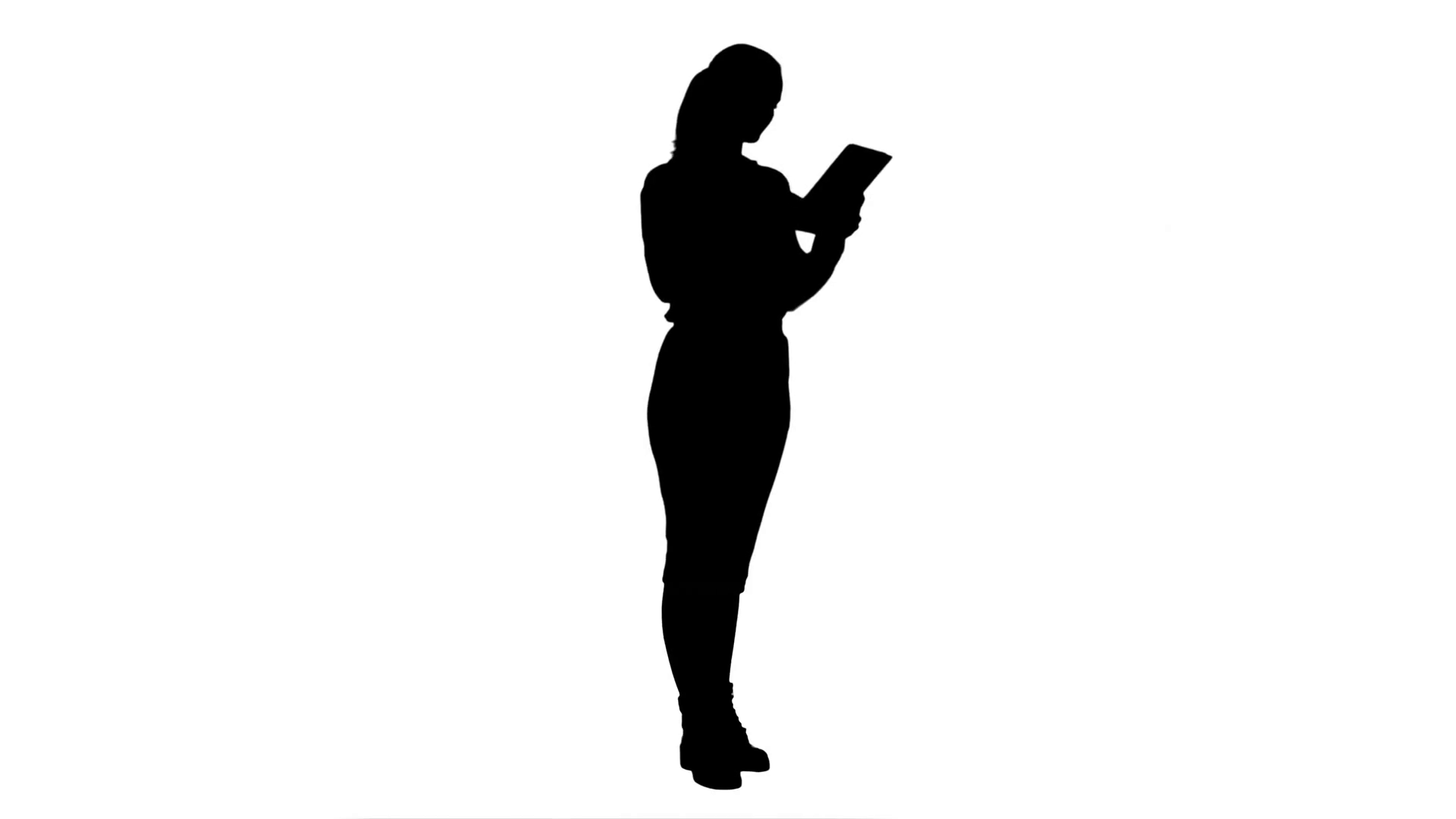 1920x1080 Silhouette Businesswoman Standin With Digital Tablet And Working