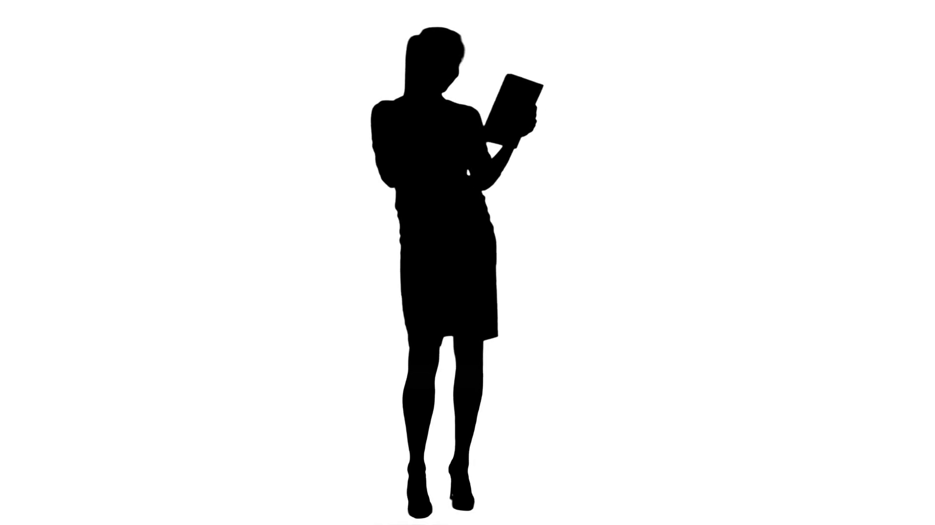 1920x1080 Silhouette Laughing Young Businesswoman Looking