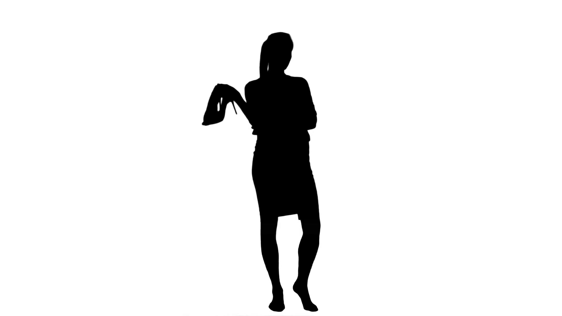 1920x1080 Silhouette Tired Young Businesswoman Standing Barefoot And Holding
