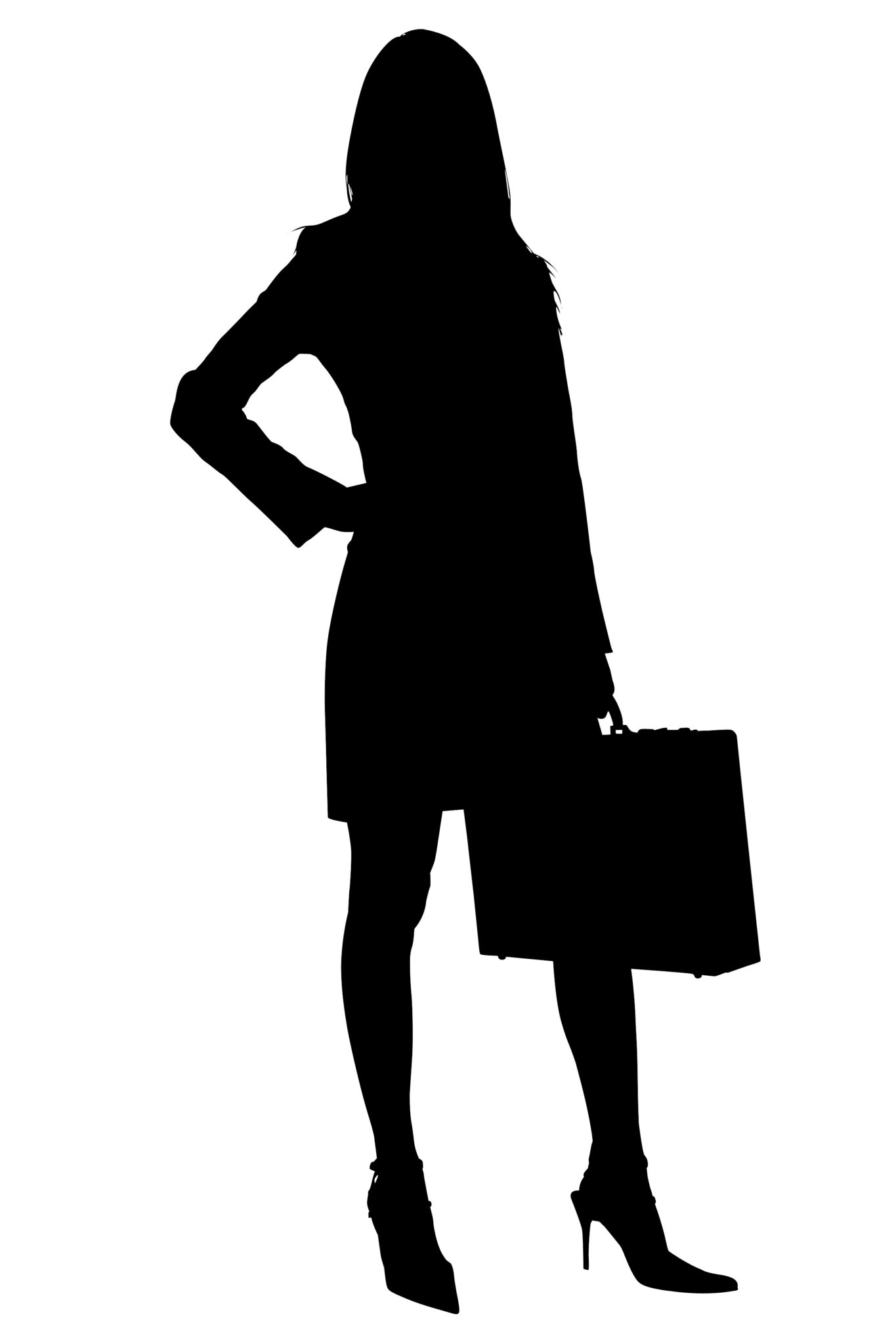 1365x2048 Silhouette With Clipping Path Of Business Woman With Briefcase