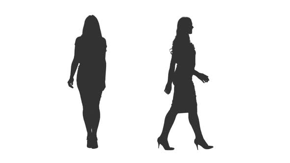 590x332 Silhouette Of Business Woman Walks On Transparent Background By