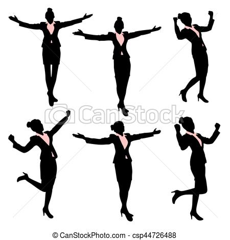 450x470 Silhouette Of Business Woman Feel Excited With White Vector
