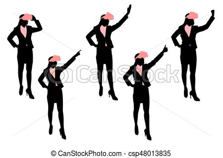 450x319 Silhouette Of Businesswoman Wear Vr And Show Something Vectors
