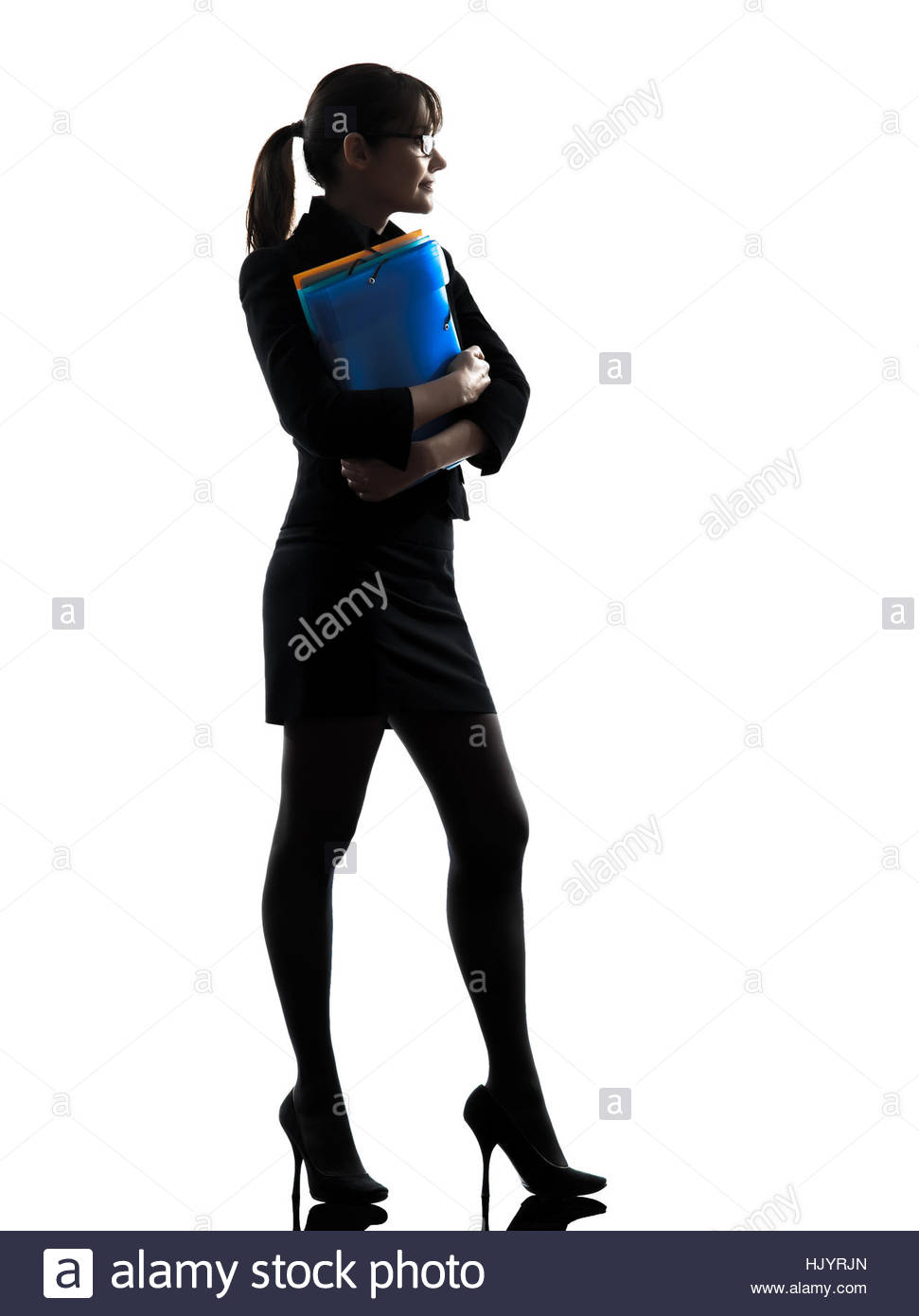 971x1390 One Business Woman Hold G Folders Files Stand G Silhouette Studio
