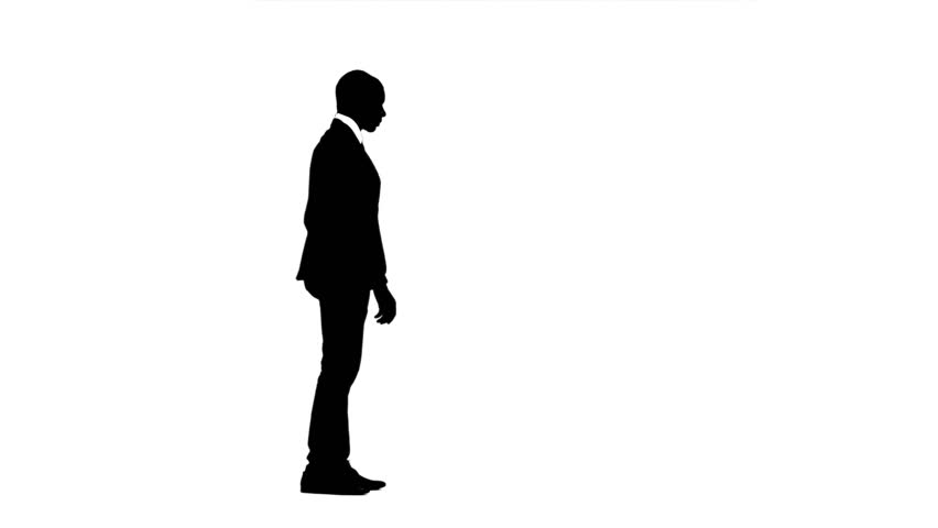 852x480 Silhouette Businessman Using Mobile Phone Stock Footage Video